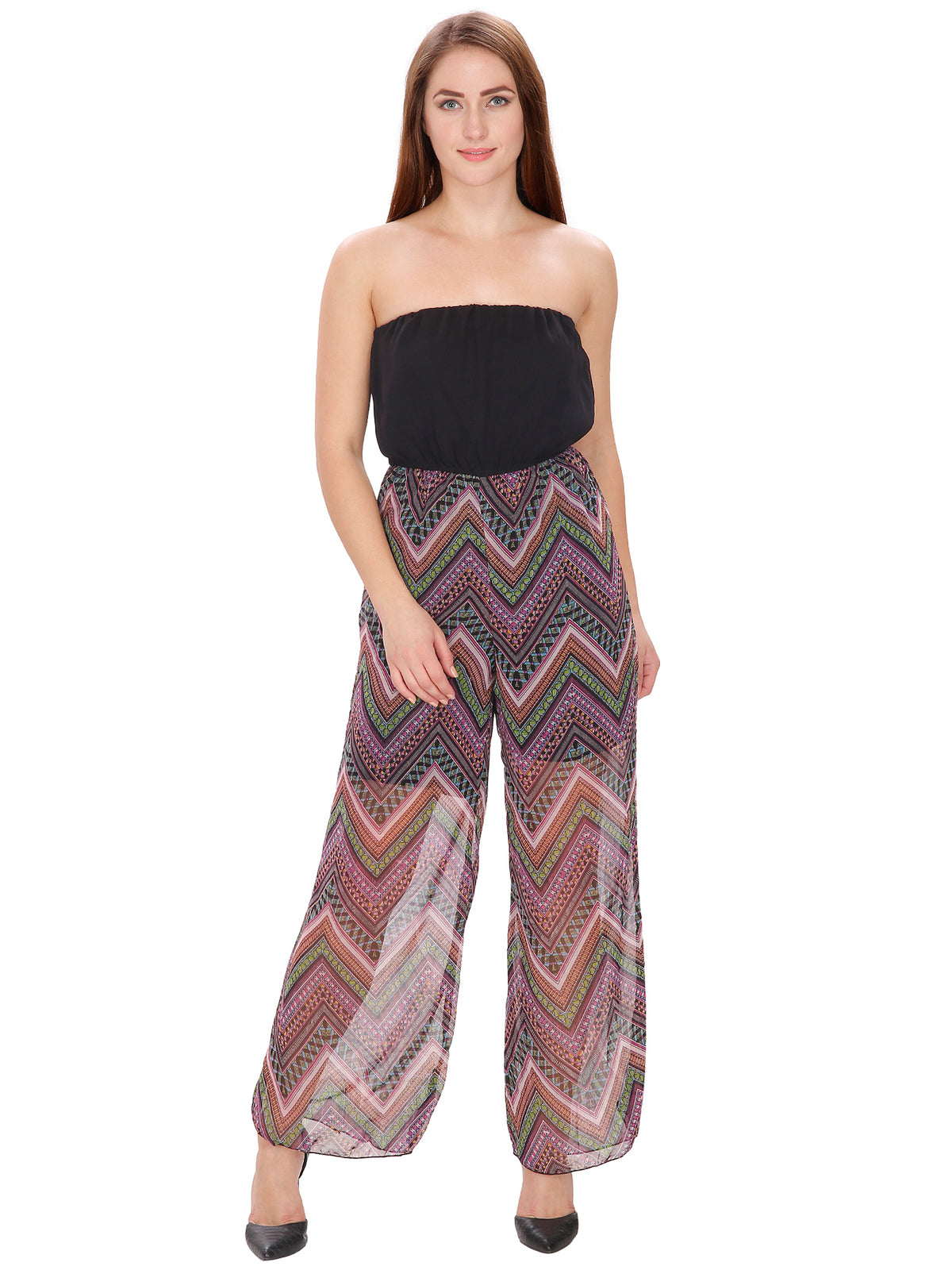 Multicoloured Palazzo Jumpsuit with a hint of pink