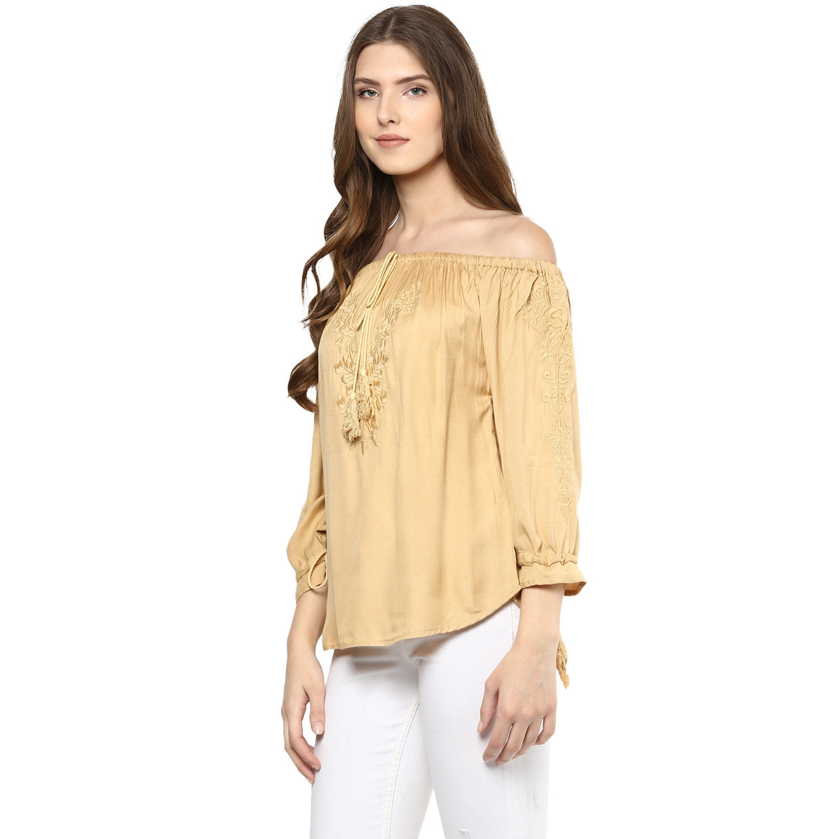 Off Shoulder golden Top