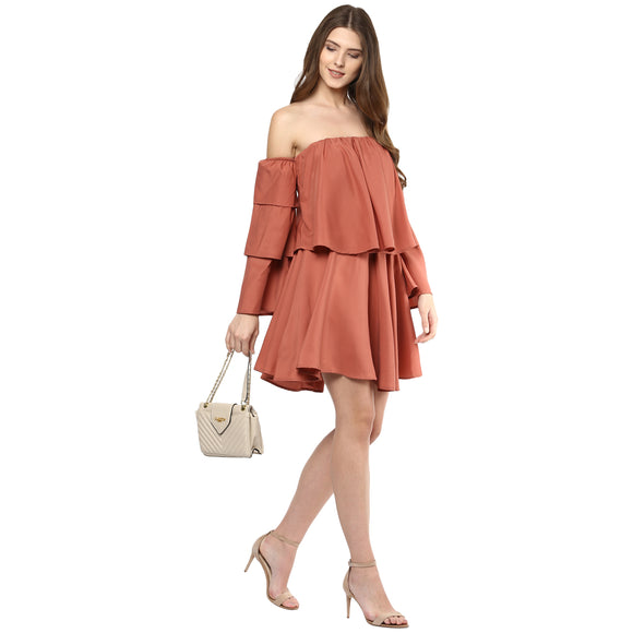 Off-Shoulder Rust Dress