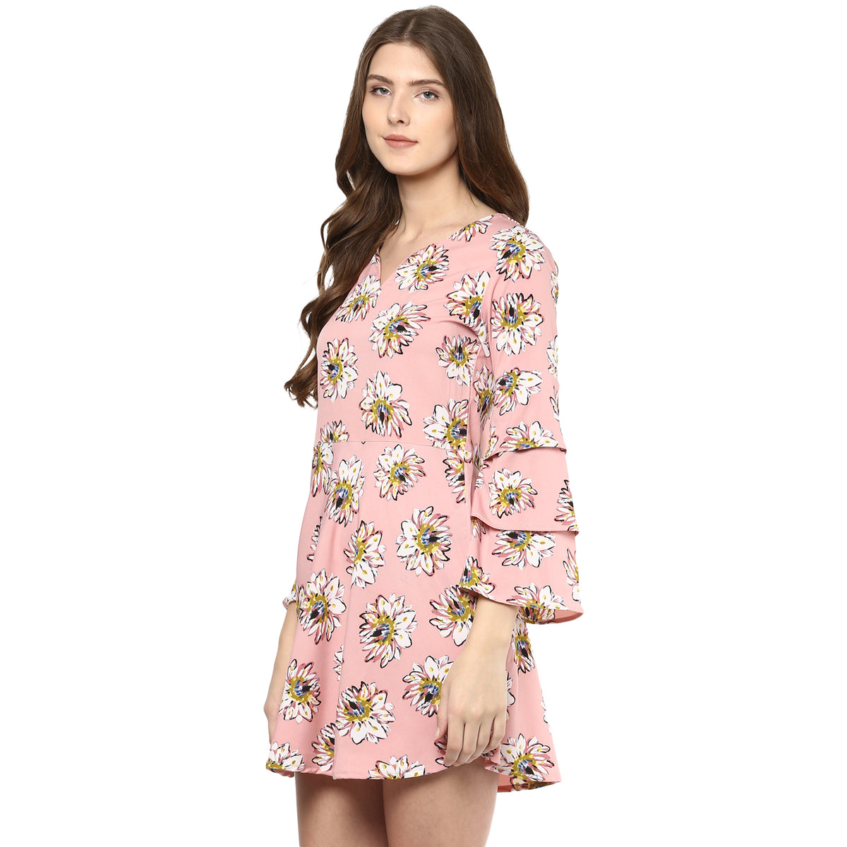 Bell-Sleeve Skater Dress