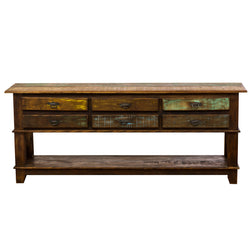 console, console table, table, credenza, sideboard, reclaimed wood furniture, reclaimed wood, solid wood, peroba wood, antique, rustic, vintage, boho chic, eco-friendly, sturdy wood