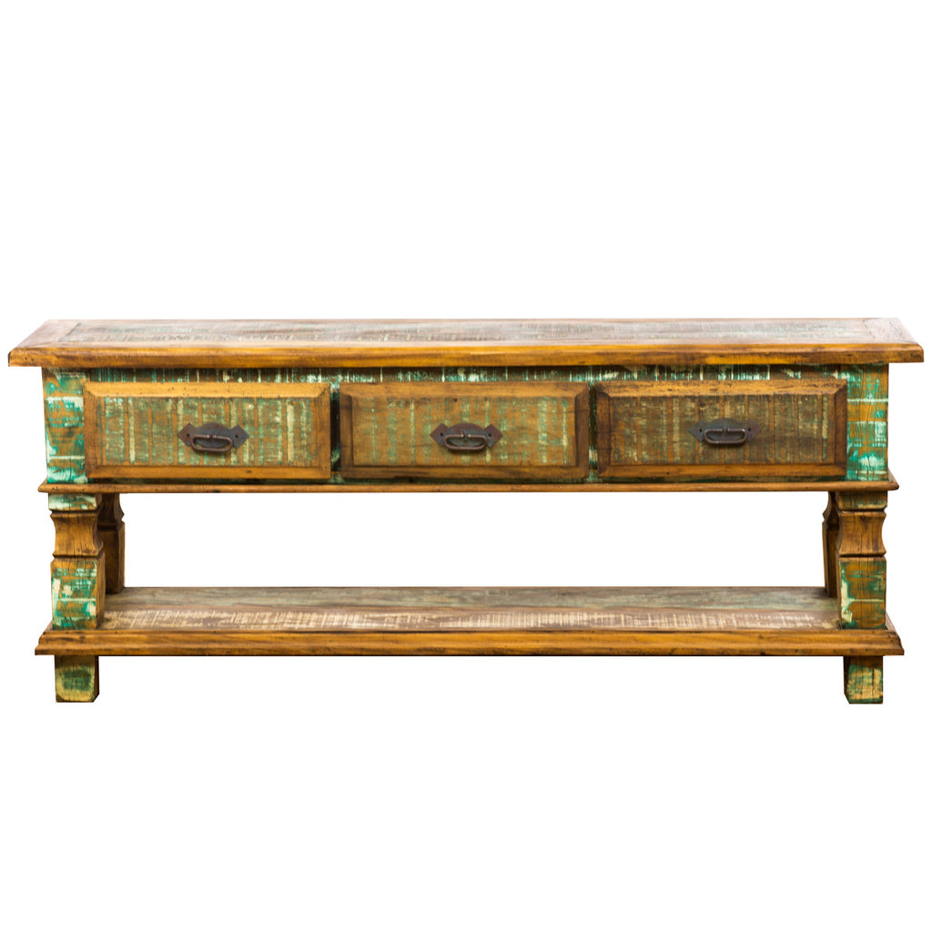 reclaimed wood console table, evergreen console, green table, distressed,