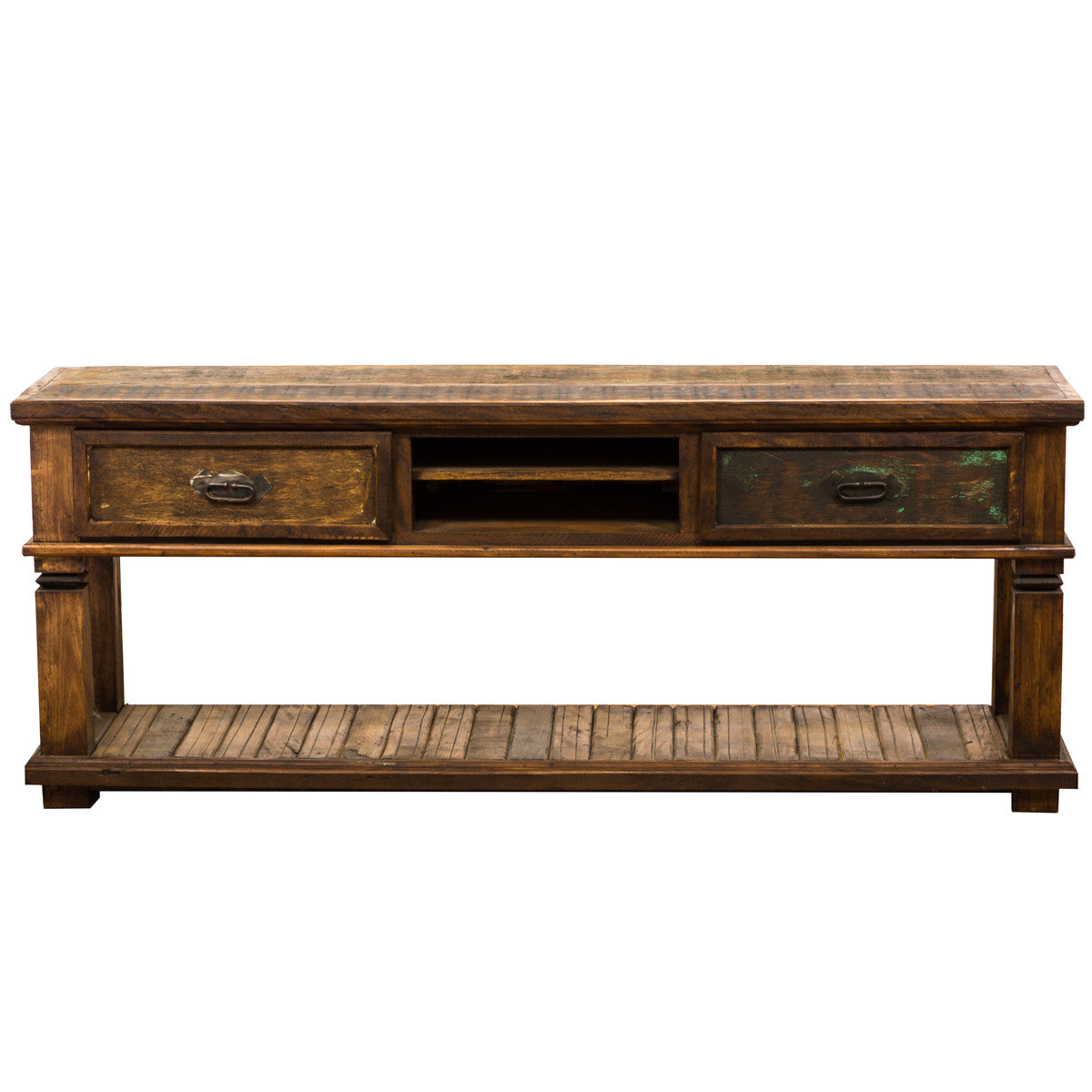 Rustic Reclaimed Wood 2 Drawer Console Table – Save The Planet Furniture