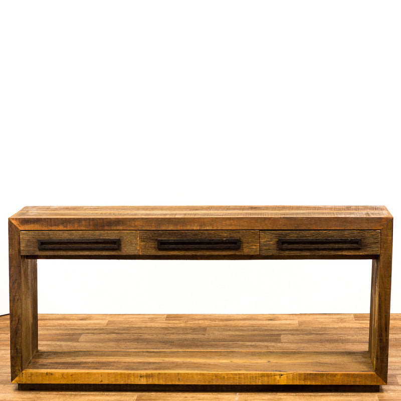 console, rustic modern console, reclaimed wood console, console table,
