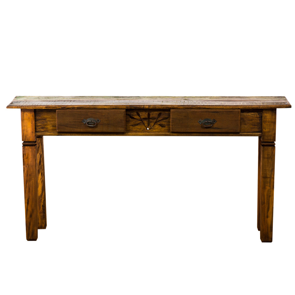 console, console table,sofa table, table, credenza, sideboard, reclaimed wood furniture, reclaimed wood, solid wood, peroba wood, antique, rustic, vintage, boho chic, eco-friendly, sturdy wood, Save The Planet, save The Planet Furniture, carving, hand carved