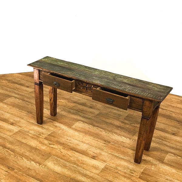 console, hand carved console table, rustic console table, reclaimed wood console,