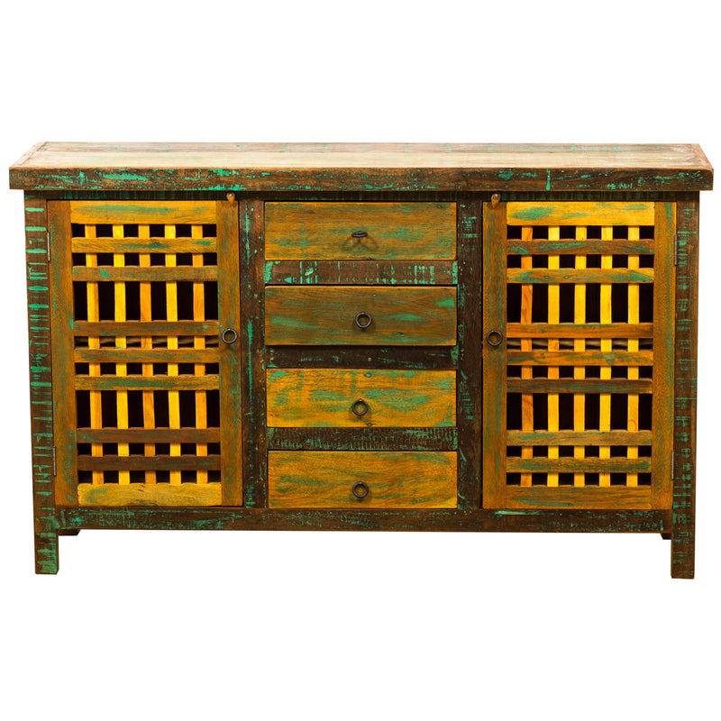 sideboard, buffet, wood cabinet, living room, dining room, entryway, reclaimed wood furniture, reclaimed wood, recycled, eco-friendly, reclaimed peroba, peroba wood, rustic, antique wood, vintage, boho-chic, bohemian, solid wood, sturdy wood, wood furniture, credenza, yellow, green,