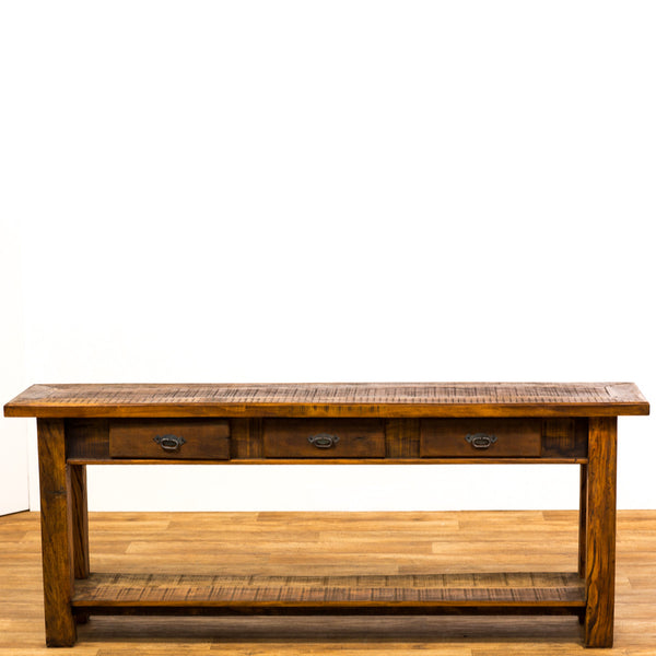 console, reclaimed wood console table, 3 drawer console table, rustic console table,