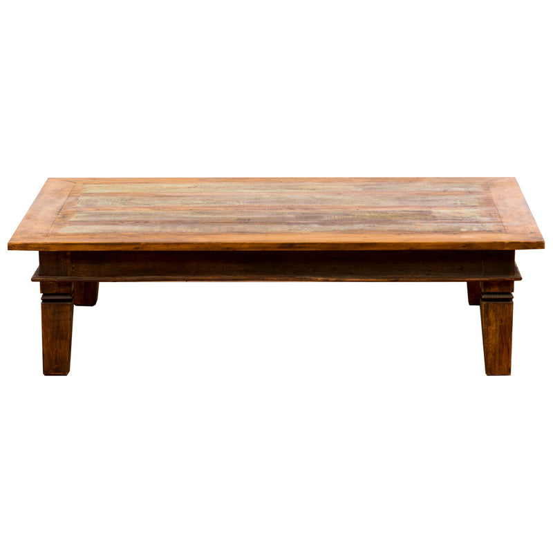 Coffee table, reclaimed wood coffee table, green coffe table, green, green furniture,Large Coffee Table, Green, Brown, Rectangle, Boho-chic, Boho, bohemian interior, solid wood, reclaimed wood, reclaimed peroba wood, peroba wood, peroba, Save The Planet, Save The Planet Furniture