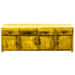 media console, TV stand, media cabinet, low credenza, multipurpose cabinet, reclaimed wood furniture, eco-friendly, wood furniture, yellow, rustic, antique, vintage, boho-chic, solid wood, peroba wood, eco-friendly