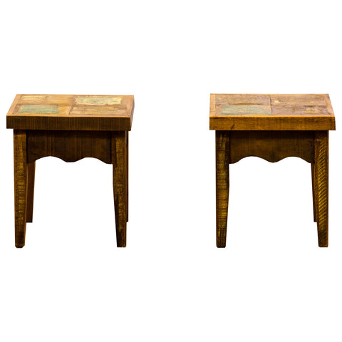 stool, pair, side table, end table, reclaimed wood, reclaimed peroba wood,