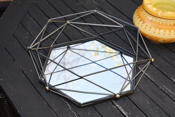 Mirrored Hexagon Vanity Tray Deco Iron Web Large FREE 4-Day Shipping