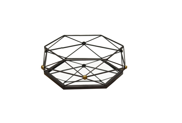 Metal Mirrored Deco Iron Web  Medium Tray Deco FREE 4-Day Shipping