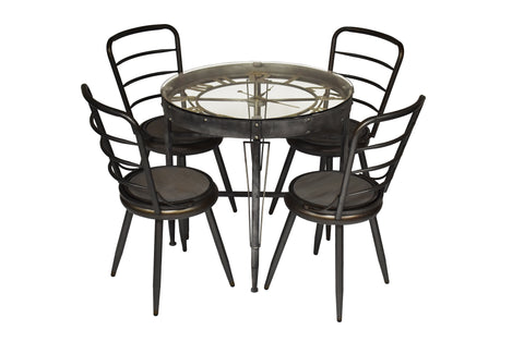 Contemporary Deco Big Ben Dining Set Clock Design Metal Wood and Glass Convertible Chair/Stool
