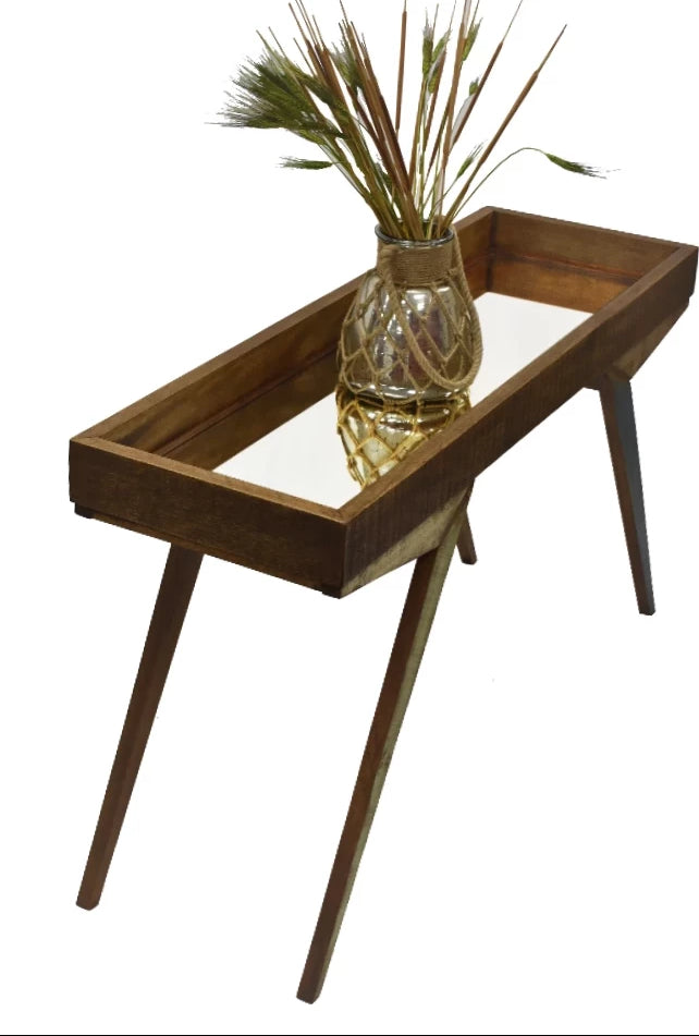 Reclaimed Peroba Wood Handmade Eco-Friendly Mirrored Tray Table