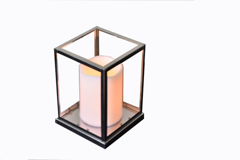 Lantern Silver With Glass Medium FREE 4-Day Shipping
