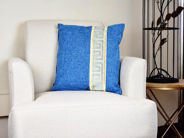 Kit Cushion Labyrinth  Design OCEAN BLUE/Throw Pillow  Set of 2                                                                                                           FREE 4-Day Shipping