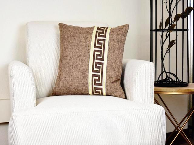 Kit Cushion Labyrinth Design BROWN Set of 2 FREE 4-Day Shipping