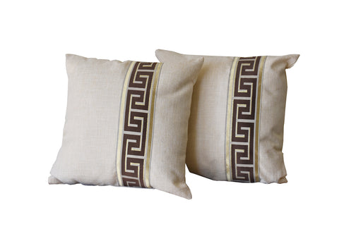 Kit Cushion Labyrinth  Design Oatmeal Set of 2/Throw Pillow                                                                                                             FREE 4-Day Shipping