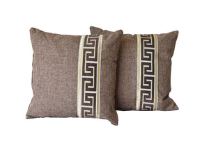 Kit Cushion Labyrinth Design BROWN/Throw Pillow Set of 2 FREE 4-Day Shipping