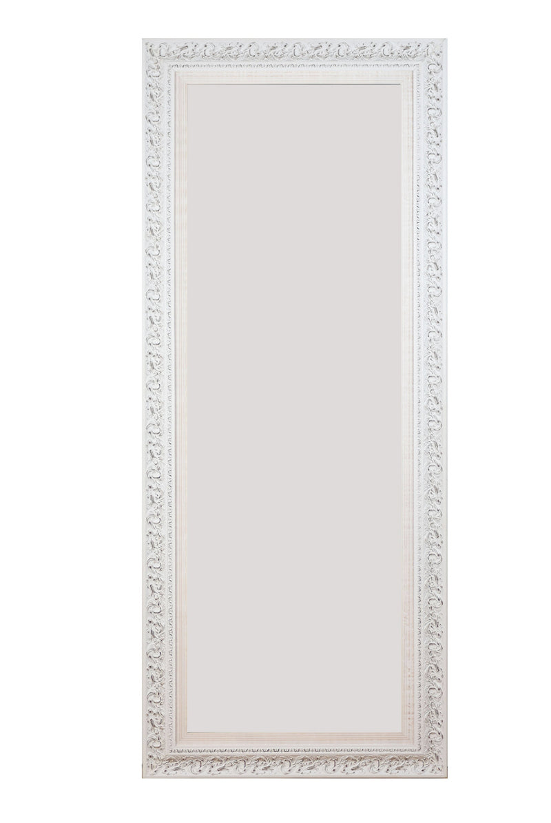 full length mirror, floor mirror, mirror, white mirror, carved mirror,