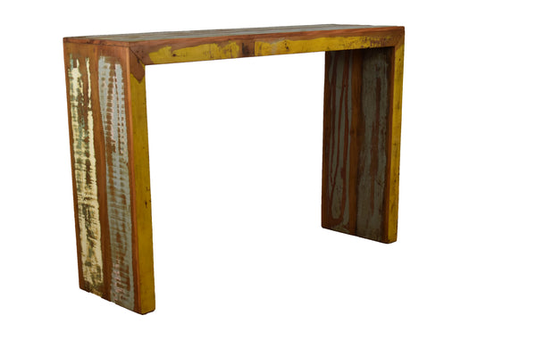 balcony, bar table, reclaimed wood bar table, high console, eco-friendly, peroba woo