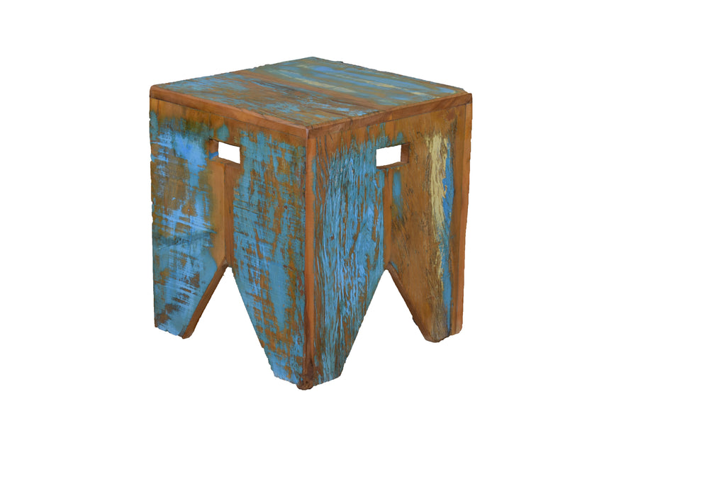 reclaimed wood stool, stool, distressed, peroba rosa wood,