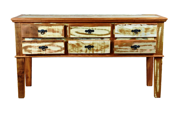 reclaimed wood console , reclaimed wood console table, 6 drawer console, console,