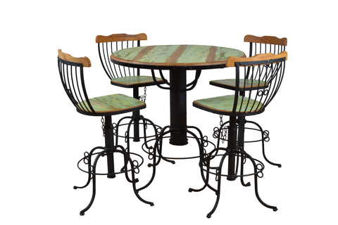 Bistro table, dining set, industrial dining set, wrought iron, peroba, reclaimed wood table,