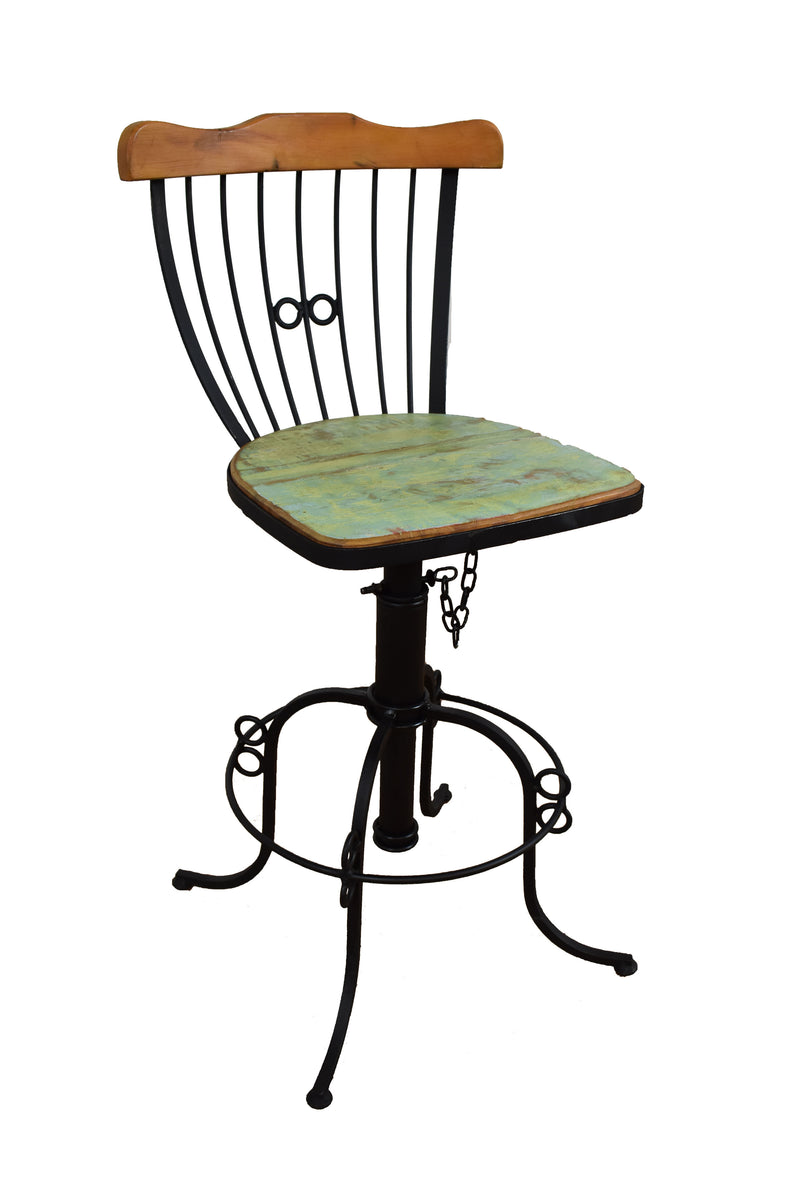 chair, dining set, industrial dining set, wrought iron, peroba, reclaimed wood table,