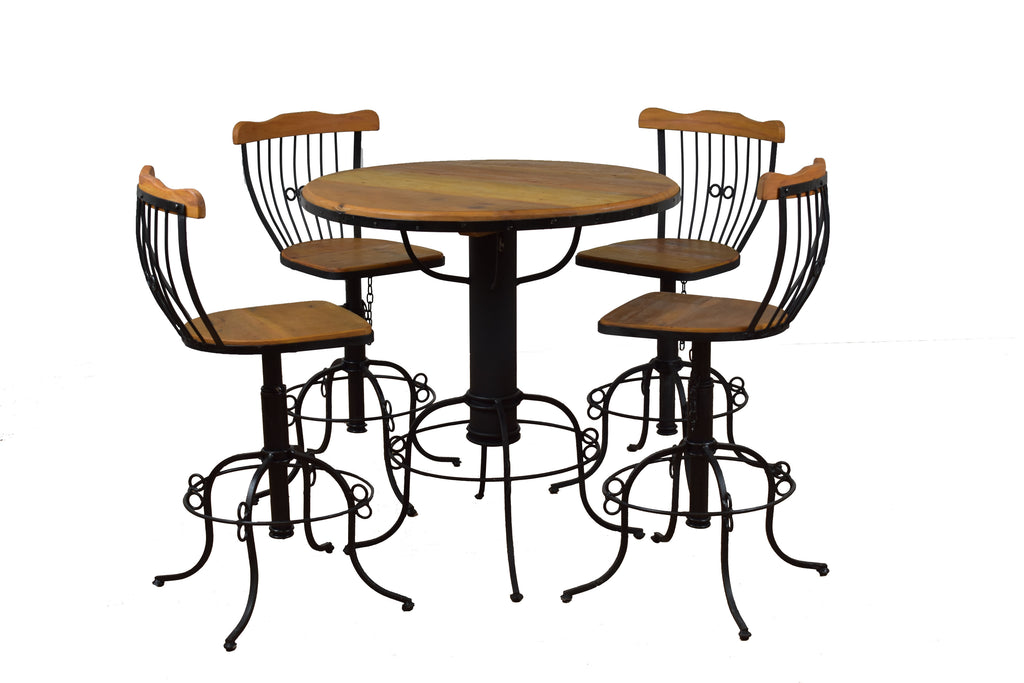 bistro table, dining set, industrial dining set, wrought iron, peroba wood,