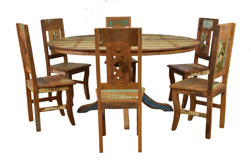 reclaimed wood round dining set, round dining set, reclaimed wood dining table, round dining set, round dining table, solid wood, sturdy, peroba rosa wood, round dining set, boho chic dining set, coastal, rustic modern, distressed furniture, yellow, blue, round table, peroba rosa wood, peroba rosa table