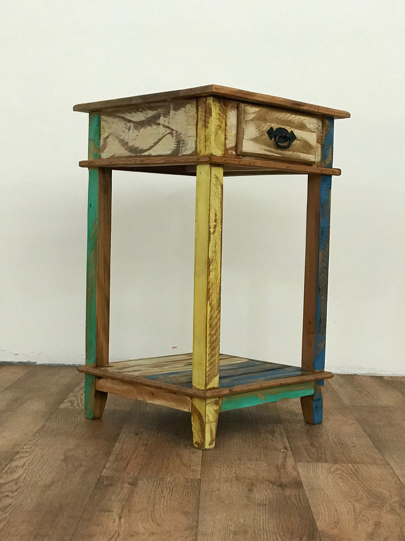 end table, side table, table lamp, exotic, multicolor, reclaimed wood,