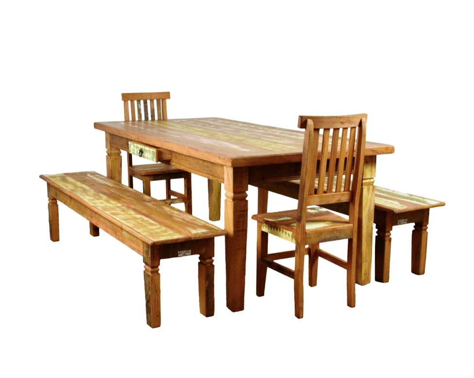 reclaimed wood dining set, 5 piece dining set, dining room furniture, solid wood, sturdy dining set, peroba rosa wood, peroba wood , Save The Planet Furniture, dining set