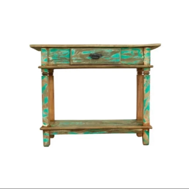 reclaimed wood console, small console, coastal, boho, beach house, distressed wood, turquoise, aqua, console table,sofa table, table, credenza, sideboard, reclaimed wood furniture, reclaimed wood, solid wood, peroba wood, antique, rustic, vintage, boho chic, eco-friendly, sturdy wood, Save The Planet, save The Planet Furniture