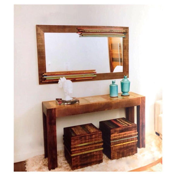 mirror, reclaimed wood, vintage furniture, vintage bathroom mi