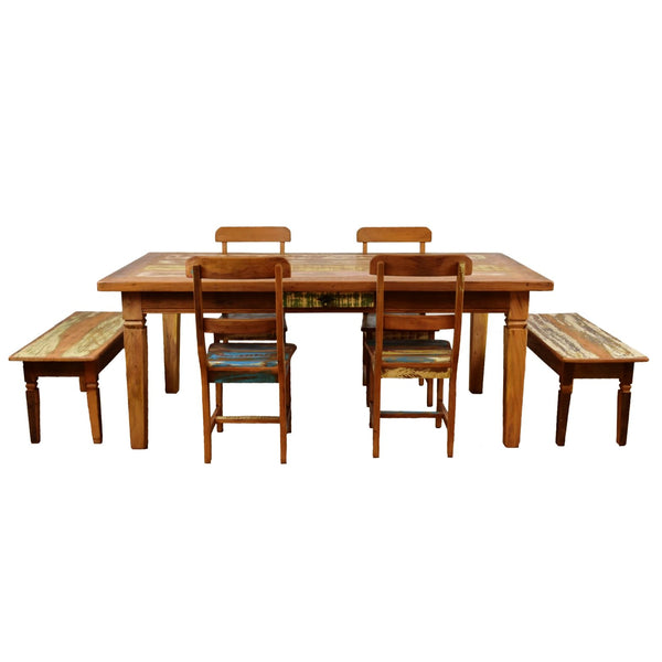 reclaimed wood dining set, 7 piece dining set, dining set, solid dinng set, sturdy dining set, rustic wood, distressed wood, peroba rosa wood, peroba wood, dining room, kitchen table, handmade, handmade furniture, Save The Planet Furniture