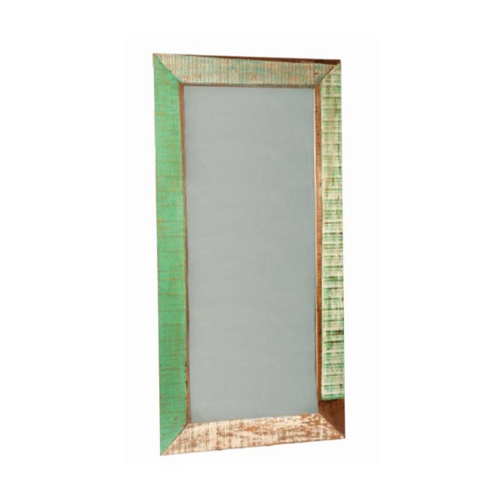 reclaimed wood floor mirror, reclaimed wood full length mirror, full length mirror, floor mirror, green , antique white, distressed mirrored, boho chic, rustic, coastal floor mirror, standing mirror, solid wood mirror, peroba rosa wood, peroba wood, living room mirror, entryway mirror, hallway mirror, living room mirror, bedroom mirror, accent mirror