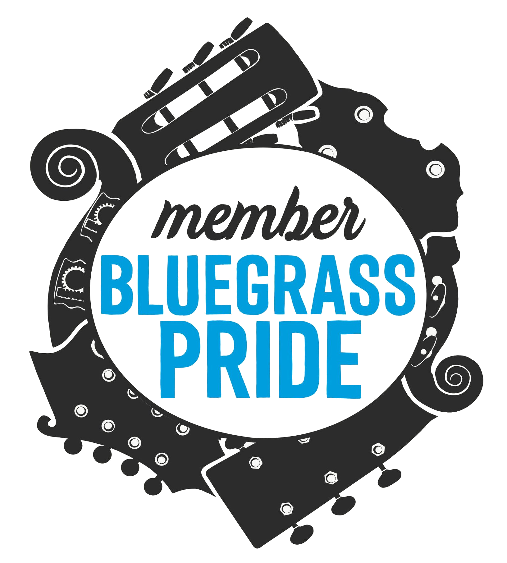 Bluegrass Pride membership graphic, featuring instrument headstocks overlapping in a circle to symbolize diversity and community. Graphic designed by Grace van't Hof.
