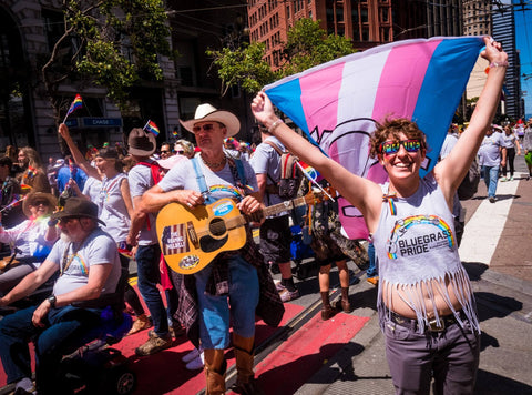 Marchers with the Bluegrass Pride contingent celebrating in the streets of San Francisco on June 25, 2017.