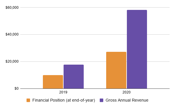A chart showing the comparative financial standing of Bluegrass Pride from 2019 to 2020. Bluegrass Pride has a financial position of $9,976 on December 31, 2019 and a gross revenue of $17,679 in 2019. By comparison, Bluegrass Pride had a financial position of $27,228 on December 31, 2020 and a gross annual revenue of $58,220.