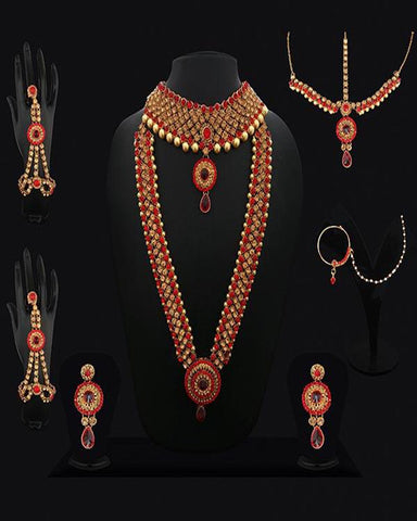 Fancy Red & Gold Plated Bridal Jewellery Set