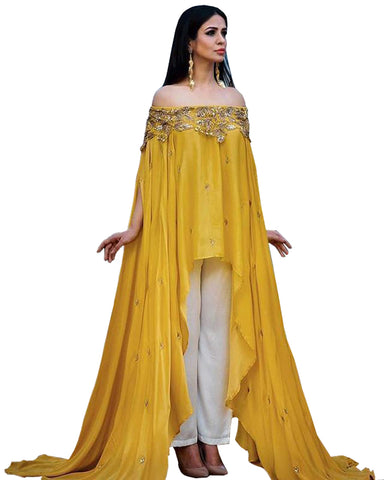Demanding Yellow Colored Kaftan Style Palazzo Suit