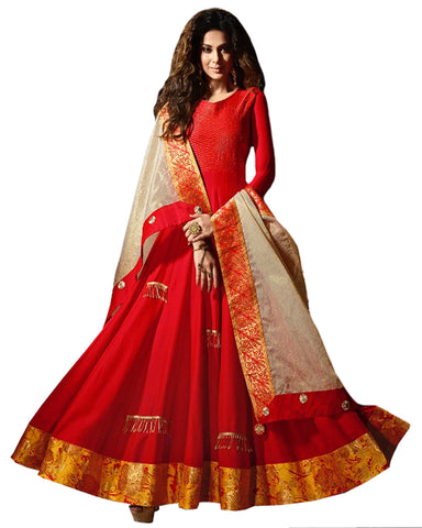 Party Wear Red Chiffon & Silk Salwar Suit