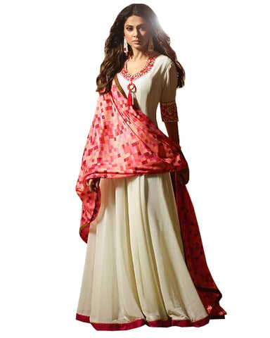 Party Wear White Chiffon Salwar Suit