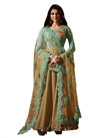 Party Wear Gold-Blue Net Salwar Suit