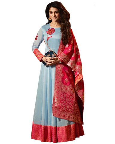 Party Wear Sky Blue-Red silk Salwar Suit