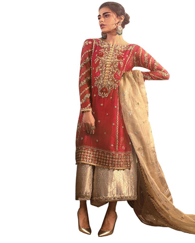 Red And Beige Embroidered Borcade Palazzo Hand work Suit Design
