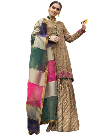 Brown Brocade Silk Embroidered Sharara Style Pakistani Suit