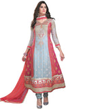 Ethnic Designer Grey/Pink Color Anarkali Suit